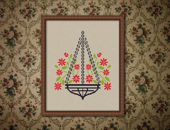 Flower Baskets Cross Stitch Charts : Basket of flowers counted cross stitch pattern pdf