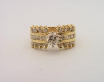 1.52 Carat Total Weight Round Cut Diamond Engagement Ring 14K Yellow Gold