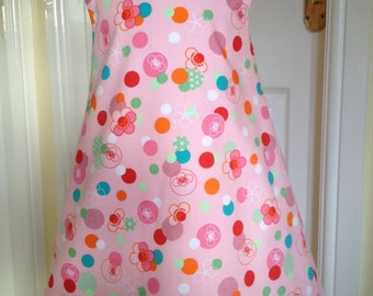 Pinafore girls dress, Robert Kaufman Tokyo Flowers, age 3 to 4, fully lined, shoulder button fastening.