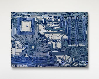 Electronic Board Canvas Print, Macro Photography, Technology Art, Office Decor, Wall Art Print