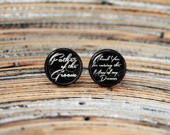 Father of the groom cufflinks, cool gifts for men, wedding silver plated or black cuff link gift for men