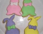 12 Pastel Floppy Bunny Cookies, Gourmet Sugar Cookies, Easter Cookies, Baked Goods, Handmade cookies, gift ideas, kids cookies