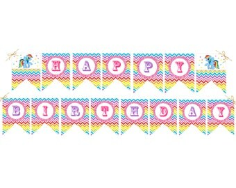 My Little Pony Birthday Banner My Little Pony Invitation Rainbow Dash Pixie Pie Pink Pony Birthday Decoration Chevron DIY Printable Banner