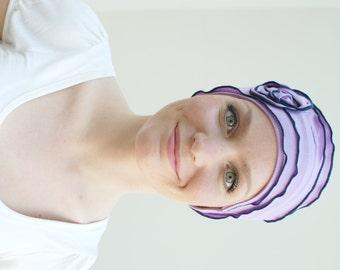 Chemo headwear, pretty chemo cap, stylish breast cancer gift - modern chemo hat styles, chemo beanie, soft jersey avail. sized