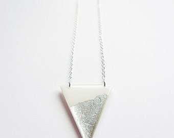 geometric necklace triangle necklace silver necklace modern necklace long necklace white necklace sterling silver chain handmade jewelry