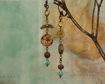 Sky Blue Swarovski Crystal, Copper Disc with Silver Soldered Brass Gears,Steampunk Earrings, Elegant Hand Made Wearable Art, Jewelry
