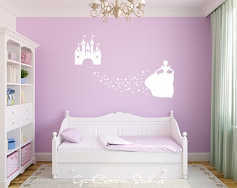 Cinderella Castle Decal Fairy Princess Decal Castle Wall Decal Fairy Tale Decor Girls Room Decal Princess Castle
