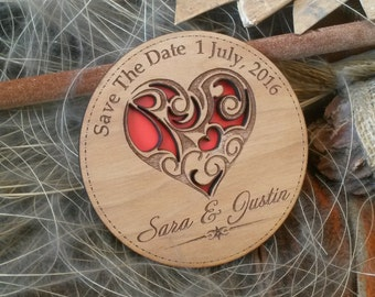 Wood Save-The-Date Magnets (30)  / Engraved Personalized Wooden magnets / Laser Cut Rustic Handmade Save the Date