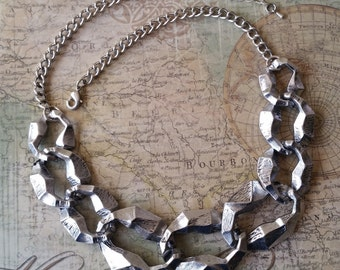 Silver Statement Necklace - Unique Large Chain Link Necklace - Steampunk Jewelry - Metal Bib Necklace