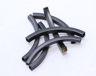 5 Pcs 4x4x50mm Black Curved Tubes, Bracelet Bangle, Cuff Bracelet Tubes, Curved, ETS140