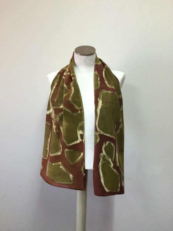 Rusty Red Greenish Handmade Silk Scarf