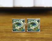 heron and fish cufflinks, tile design cuff links, heron cuff links, custom wedding cufflinks, round, square cufflinks, tie clips or set