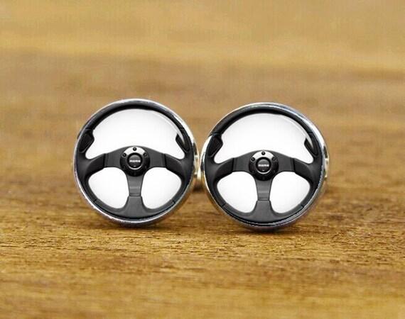 racing wheel cufflinks, personalized cufflinks,  steering wheel gifts, custom wedding cufflinks, round, square cufflinks, tie clips, or set