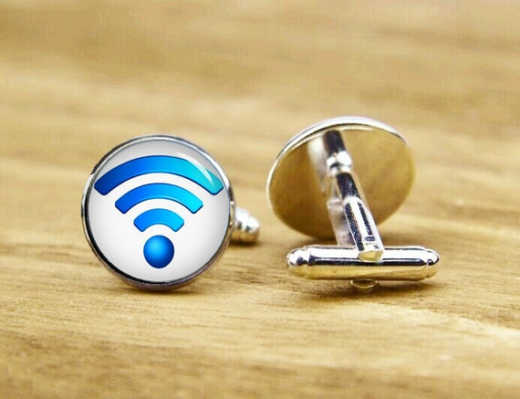 Wifi Cufflinks, WIFI Logo Cufflinks, Personalized Cufflinks, Wifi symbol, Custom Wedding Cufflinks, Round, Square Cufflinks, Tie Clips, Gift
