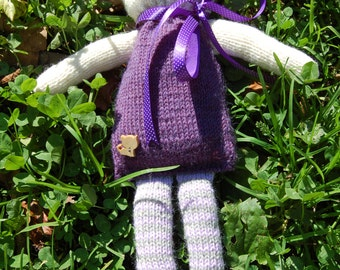 Purple and White Hand-Knitted Teddy Bear; 12 in. / 30 cm