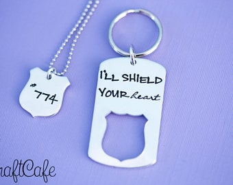 Police Couple Necklace and Keychain Set- I'll Shield Your Heart - Thin Blue Line - Police Girlfriend - Police Officer - Blue Lives Matter