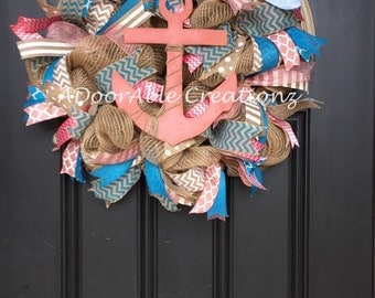 Burlap Deco Mesh Anchor Wreath, Turquoise and Coral Nautical Burlap Deco Mesh Wreath,Summer Wreath , Anchor Wreath, Nautical Wreath, Wreath