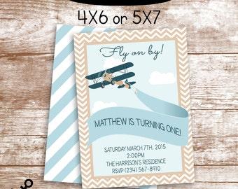 Boys 1st Birthday Airplane Invitation // Aviator Birthday // DIY Printable // 4X8 or 5X7
