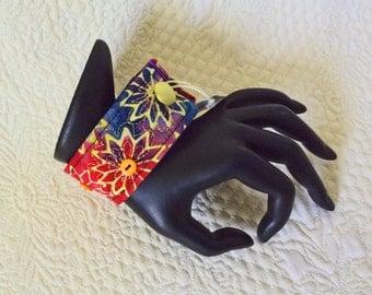 """Wrist cuff 8 1/4"""", fiber art bracelet, art to wear cuff, textile art cuff, fiber jewelry, Cuff bracelet, OOAK, Wearable wrist cuff art  #25"""
