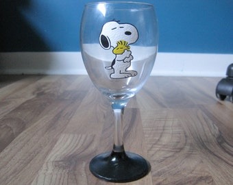 Snoopy and Woodstock wine glass