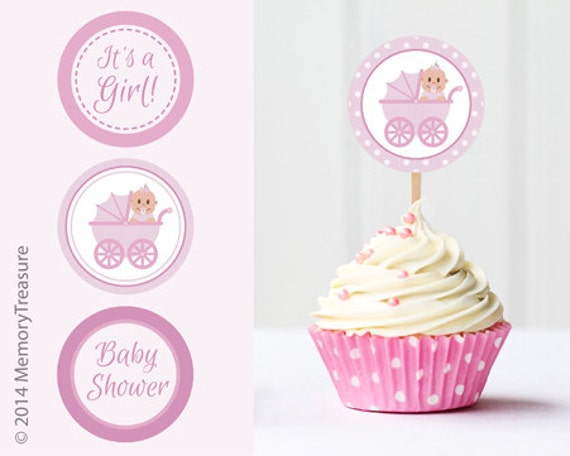 Cake Toppers Baby Shower Etsy : Items similar to Girl Baby Shower Cupcake Toppers ...
