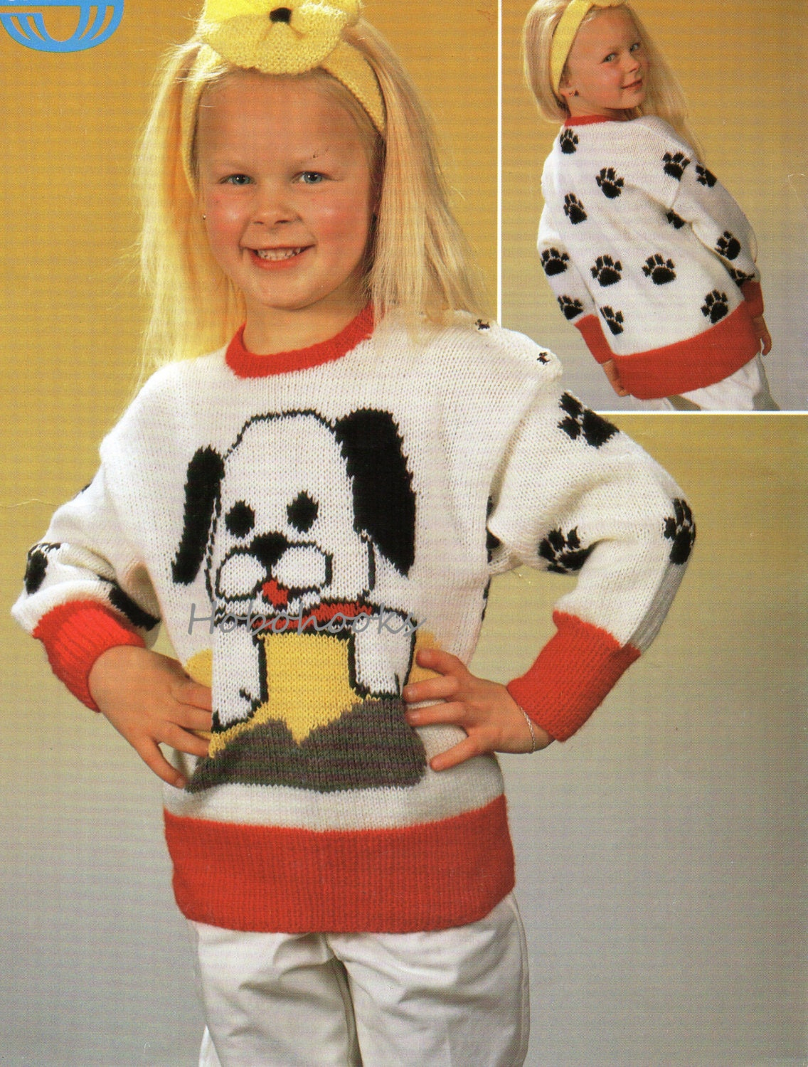 Knitting Pattern With Dog Motif : Childrens Dog Motif Sweater Childrens Sweater Knitting Pattern
