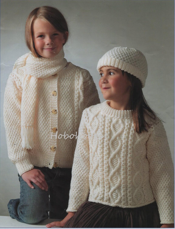 Baby Childs childrens Aran Sweater Cardigan Hat Scarf knitting