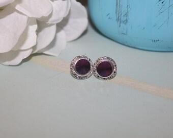 Amethyst Crystal Post Earrings 13mm Rivoli