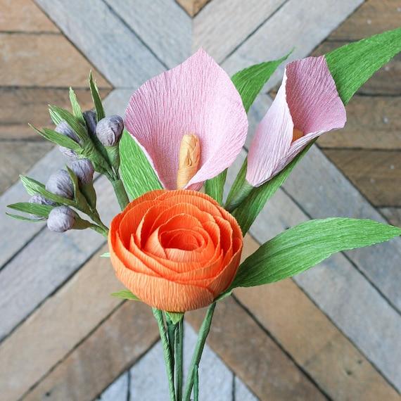 Dia Bouquet: Quartet of Crepe Paper Flowers {Pink Calla Lily, Orange Ranunculus, Gray Berries, Leaves}
