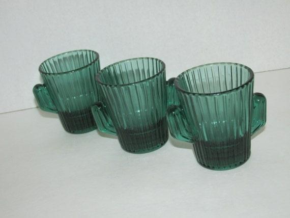 Vintage Set Of 3 Libby Cactus Shot Glasses Toothpick Holders