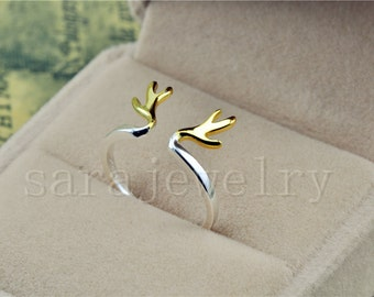 Only one size, Antler Ring/deer antler Ring In 925 Silver,sterling silver 925 ring,birthday gift, bridesmaid ring, graduation ring