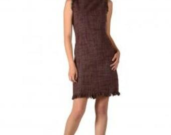 Matsuda Alpaca Sleeveless Dress Purple Tweed- Casual Dress-Office Dress-Professional Dress- Tweed Dress-