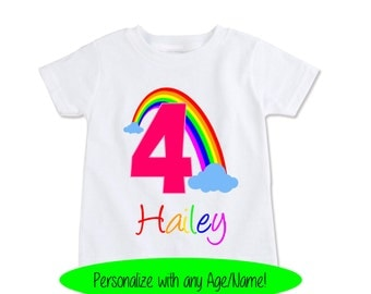 Girls Rainbow birthday shirt Custom Kids Name and age t shirts, Personalized Toddler spring or summer tops, Granddaughter gift  (EX 327)