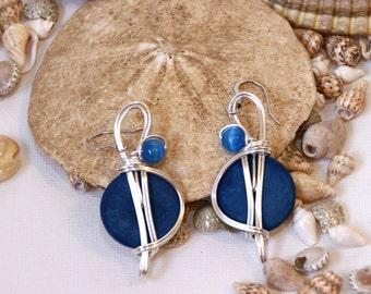 Coconut Shells, Blue Dangle Earrings, Big Earrings, Blue Earrings, Blue Jewelry, Ocean Blue Earrings, Royal Blue Earrings, Wirewrapped