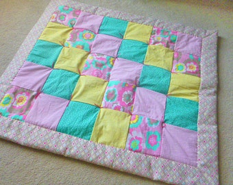 Baby Girl's Handmade Quilt - Pink, Teal, Yellow & Floral