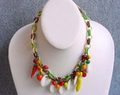"""Fruit Salad Glass Necklace  Fruits And Vegetable Choker Celluloid Chain 16"""" Vintage Venetian Costume Jewelry Green White Red Yellow Orange"""