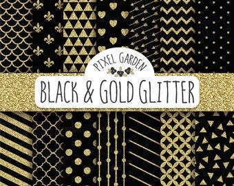 Black and Gold Glitter Digital Paper Pack. Quatrefoil Scrapbooking Paper. Polka Dot, Chevron. Black & Gold Glitter New Year's Digital Paper.