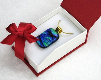 Sophisticated Pixie Stix Dichroic Glass Pendant On Gold Chain (Item #182)
