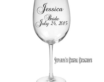 Personalized Bride Wine Glass - Wedding Date & Name