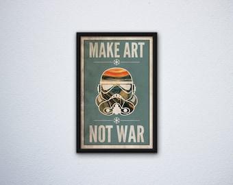 Star Wars Inspired Poster: Stormtrooper - Make Art-Not War - The Scream - Edvard Munch