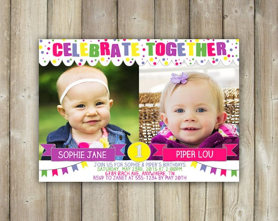 Joint Birthday Invitation Double Birthday Party Invite Twins – Dual Birthday Party Invitations