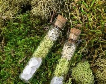 Moss & Rose Quartz Crystal Terrarium Glass Bottle Necklace