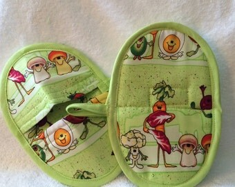 Pot Pinchers or Pot Holders in Lime Green with Dancing Veggies