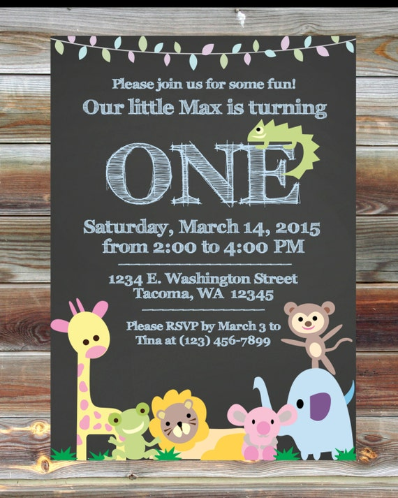 Jungle Theme First Birthday Invitation Custom Printable – Safari First Birthday Invitations