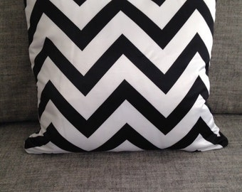 Black Chevron Pillows - Zig Zag Pillow Cover With Zipper 45cm x 45cm Double Side Printed