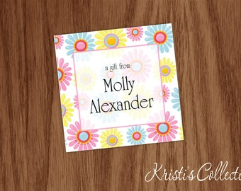 Custom Stickers Gift Tags Calling Cards- Personalized Birthday Floral Gift Enclosures Inserts - Girl Birthday Gift Tags