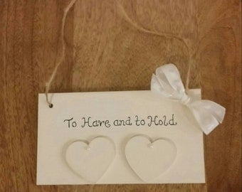Gorgeous Hanging Wooden Wedding / Engagement Gift Plaques (15cm x 8cm) with Personalised Hearts