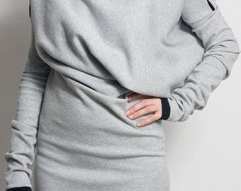 Fasada f/1515 gray asymetric long sleeved cotton dress tunic