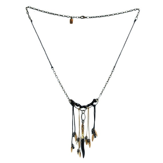 Navajo Night Tribal Necklace - Boho Necklace, Tribal Statement Necklace