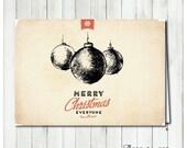 "2014 Holiday Card - Vintage Ornaments Customizable (A7: 5""x7"") DIY"